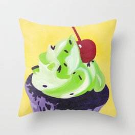 Green Cupcake Throw Pillow