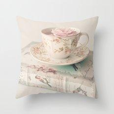 Rosey Tea and Book Throw Pillow