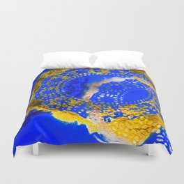 Royal Blue and Gold Abstract Lace Design Duvet Cover