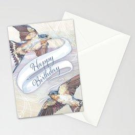 Two Swallow Birds Happy Birthday Card Stationery Cards