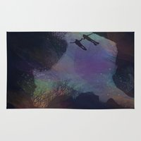 diver Area & Throw Rugs featuring Cosmic Diver by George_Swift