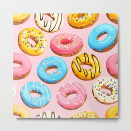 Donuts Pink Modern Decor Contemporary Modern Décor Metal Print