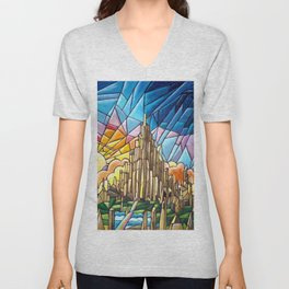 Asgard stained glass style Unisex V-Neck