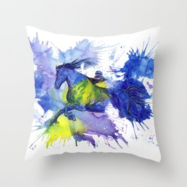 Watercolor and Ink Horse Throw Pillow