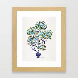 Bonsai Fruit Tree – Blue Palette Framed Art Print
