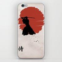 samurai iPhone & iPod Skins featuring Samurai by Purple Cactus