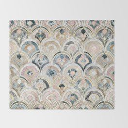 Art Deco Marble Tiles in Soft Pastels Throw Blanket
