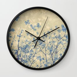 Vintage Duotone Indigo Blue and Cream Spring Dogwood Branches Wall Clock