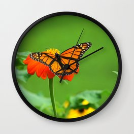 Butterfly on Mexican Sunflower Wall Clock