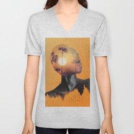 Portrait of Woman with Sunrise Nature Landscape Unisex V-Neck