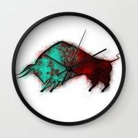 bull Wall Clocks featuring Bull by ewdondoxja