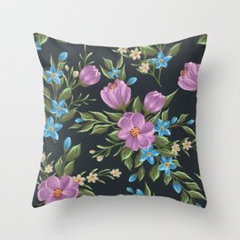 Beautiful retro flower seamless pattern Throw Pillow