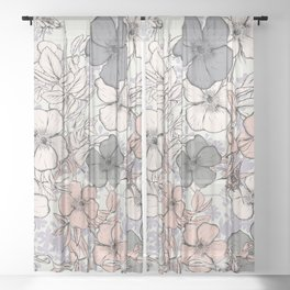 Flower vintage design with wild roses in english style Sheer Curtain