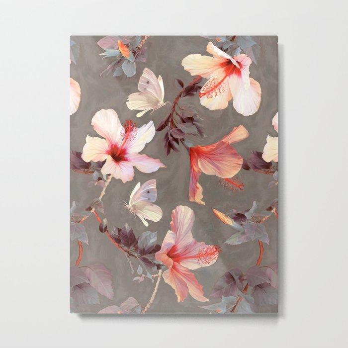 Coral Hibiscus Metal Print
