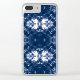 Shibori Tie Dye 1 Indigo Blue Clear iPhone Case