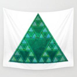 Sierpinski Triangle In Green Wall Tapestry