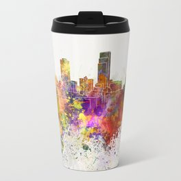 Omaha skyline in watercolor background Travel Mug