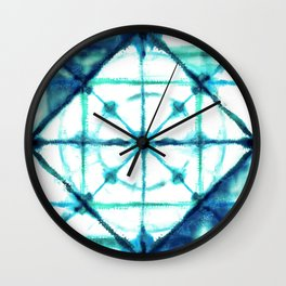 Shibori in Ocean Blues Wall Clock