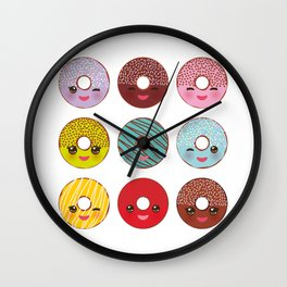 Kawaii colorful donut with pink cheeks and winking eyes, Sweet donuts set with icing and sprinkls Wall Clock