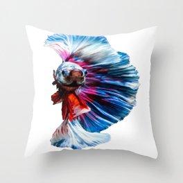 Magnificent Betta Splendens Freshwater Fish Throw Pillow
