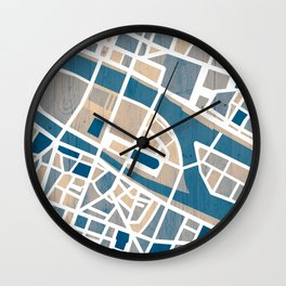 Paris Île de la Cité Map Wall Clock