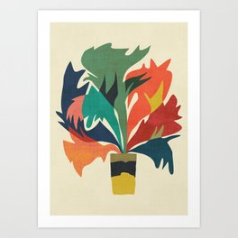 Potted staghorn fern plant Art Print