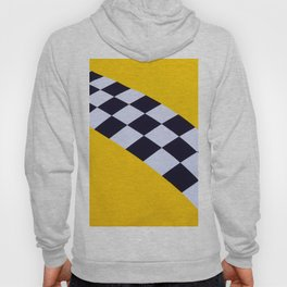 Abstract Medieval Flag Of Yellow Color With A Black And White Checks Hoody