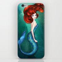 mermaid iPhone & iPod Skins featuring Mermaid by Annya Kai