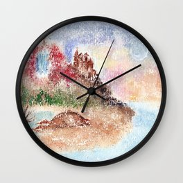 Mysterious Island Watercolor Illustration Wall Clock