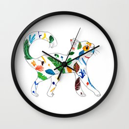 Whimsical Leafly Cat Wall Clock