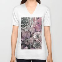 succulent V-neck T-shirts featuring succulent pink by ARTbyJWP