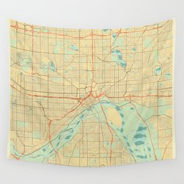St Paul Map Retro Wall Tapestry