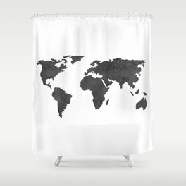 Metallic Graphite Textured World Map Shower Curtain