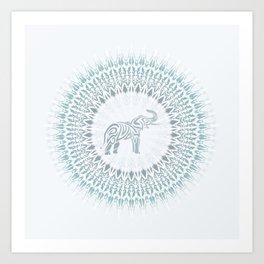 Aqua Mandala Elephant Art Print