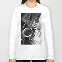 saxophone Long Sleeve T-shirts featuring Jazz and Saxophone by cinema4design