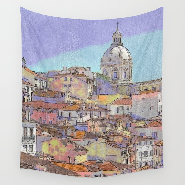 Santa Ingrácia church and Alfama rooftops, Lisbon Wall Tapestry