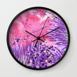 Modern violet lime green lavender pink marble floral Wall Clock