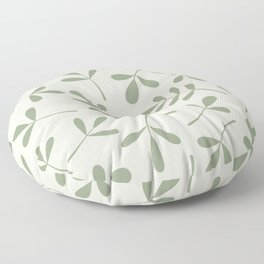 Green on Cream Assorted Leaf Silhouettes Floor Pillow