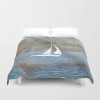sailboat Duvet Covers featuring sailboat by Laura Grove