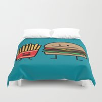 french fries Duvet Covers featuring Happy Cheeseburger and French Fries by Berenice Limon