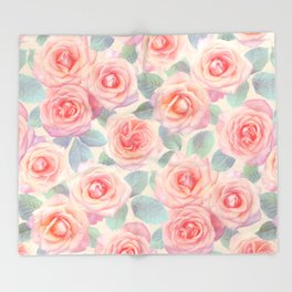 Opal Pink and Peach Painted Roses Throw Blanket