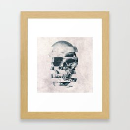 Glitch Skull Mono Framed Art Print