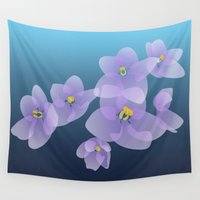 selena Wall Tapestries featuring Violets  by Selena Gazda