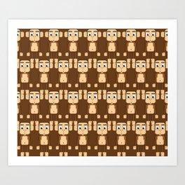 Super cute animals - Cheeky Brown Monkey Art Print