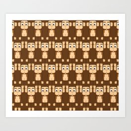 Super cute animals - Cheeky Brown Monkey Art Print