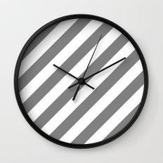 Diagonal Stripes (Gray/White) Wall Clock