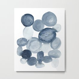 Pebbles Watercolor Abstract Metal Print
