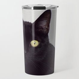 Pretty Kitty, Black Cat With Huge Green Eyes, Halloween Cat Travel Mug