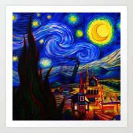 tardis starry night Art Print