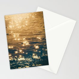 Sparkling Ocean in Gold and Navy Blue Stationery Cards